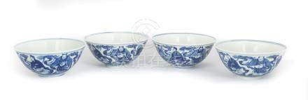 Group of Nine Chinese Blue & White 'Eight Immortals' Bowls. Daoguang six-character reign mark (