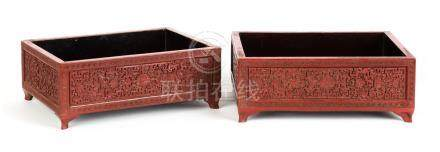 Pair of Chinese Cinnabar Lacquer Scholar Trays. 18th/19th century. Some edge wear; otherwise, very