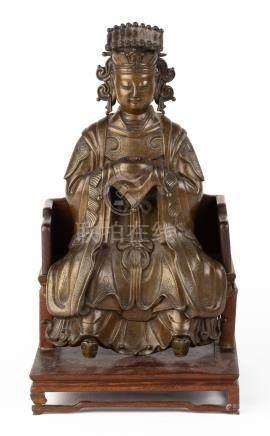 "Taoist Immortal Ming Bronze. Max Ht. 13 12"" W 7"". Online bidding available: https://live."
