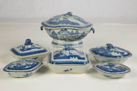 Group of Chinese Export Canton Covered Serving Pieces. 19th century. Bottom center dish has chip
