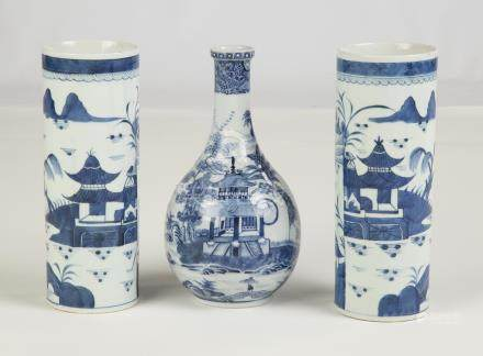 Group of Chinese Export Canton Vase and Pair of Bottles. 19th century. Pair has double circle