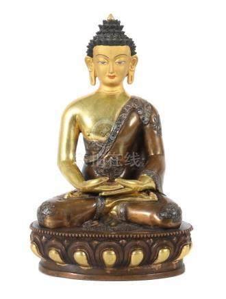 Buddha ShakyamuniNepal/Tibet, 20. Jh., Bronze/vergoldet, in vajrasana sitzender Buddha, die Hände in