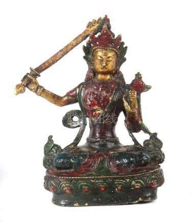ManjushriNepal, 20. Jh., Messingguss, farbig gefasst, in vajrasana sitzender Bodhisattva, die