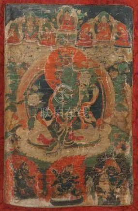 Thangka der grünen TaraTibet, 18./19. Jh., Gouache/Leinen, zentrale Darstellung der grünen Tara,