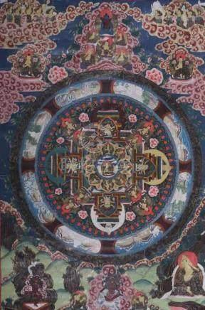 Mandala-ThangkaNepal/Tibet, Ende 19./1. Hälfte 20. Jh., Gouache/Leinen, zentrale Darstellung des
