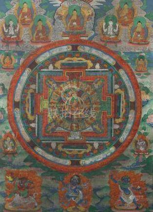 Mandala-ThangkaNepal, 19./20. Jh., Gouache/Leinen, part. Ziergold, im Zentrum des Mandalas