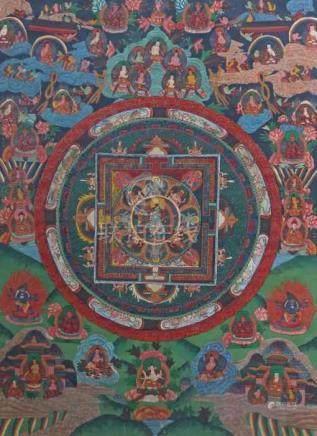 Mandala-ThangkaNepal, wohl um 1900, Gouache/Leinen, zentrale Darstellung der grünen Dakini, im