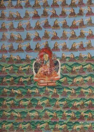 Thangka der Nyingma-SchuleTibet/Nepal, 20. Jh., Gouache/Leinen, zentrale Darstellung des Jamgon Ju