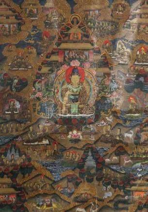 "Thangka ""Leben des Buddha""Tibet/Nepal, Ende 19./ 1. Hälfte 20. Jh., Gouache/Leinen, zentrale"
