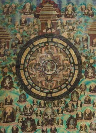 Mandala-ThangkaNepal, 1. Hälfte 20. Jh., Gouache/Leinen, zentrales Mandala mit dreiköpfigem Mahakala