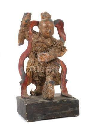 LanzenträgerChina, wohl 19. Jh., Holz/farbig gefasst, vollplastische Darstellung eines Mannes