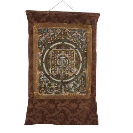 Thangka. TIBET, 1. Hälfte 20. Jh..Mit Darstellung eines Mandala, Tempera und Goldfarbe auf