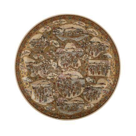 Feine Satsuma-Schale. JAPAN, Meiji-Periode (1868-1912)In Reserven fein bemalt mit verschiedenen
