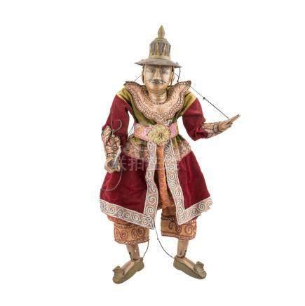 Prächtige Marionette aus Holz. THAILAND, 20. Jh..H ca. 75 cm.
