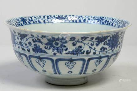 """Grand bol en porcelaine bleue et blanche de Chine décoré d'un """"Couple de canard"""
