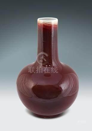 民国 红釉天球瓶