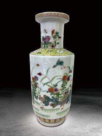清 粉彩花鸟纹瓶