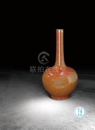 清‧乾隆 红釉长颈瓶