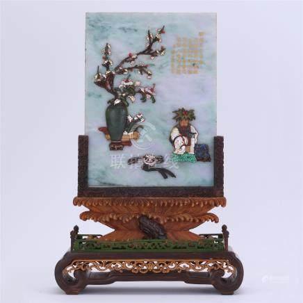 CHINESE GEM STONE INLAID JADEITE PLAQUE ZITAN BOXWOOD TABLE SCREEN