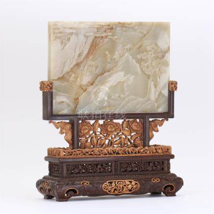 CHINESE WHITE JADE PLAQUE HARDWOOD BOXWOOD TABLE SCREEN