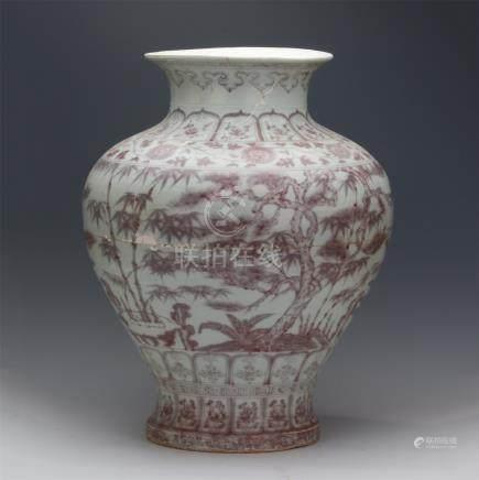CHINESE PORCELAIN RED UNDER GLAZED BAMBOO JAR