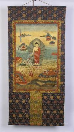 CHINESE EMBROIDERY THANGKA OF SAKYAMUNI