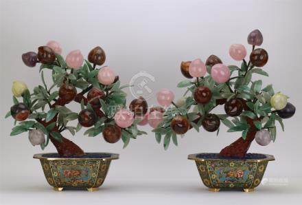 PAIR OF CHINESE ROCK CRYSTAL PEACH BENSAI IN CLOISONNE BASIN