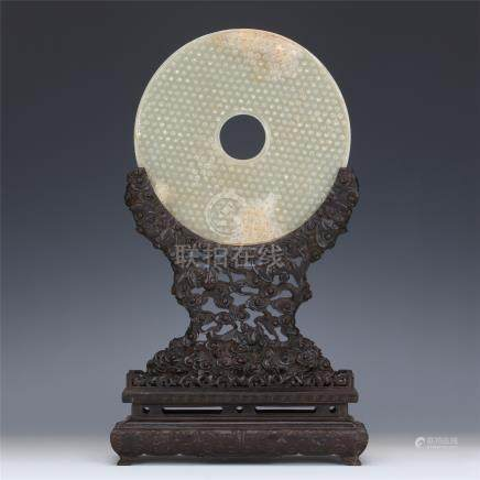 CHINESE WHITE JADE ROUND PLAQUE ZITAN TABLE SCREEN