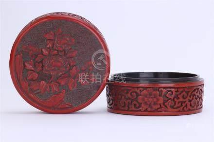 CHINESE CINNABAR FLOWER ROUND BOX