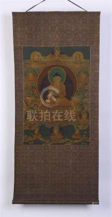 CHINESE EMBROIDERY THANGKA OF SEATED BUDDHA