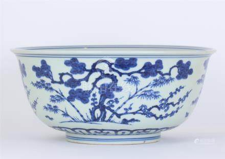 CHINESE PORCELAIN BLUE AND WHITE PINE BAMBOO BOWL
