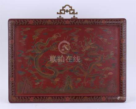 CHINESE RED LACQUER DRAGON WALL SCREEN QING DYNASTY