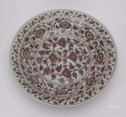 CHINESE PORCELAIN RED UNDER GLAZED FLOWER CHARGER