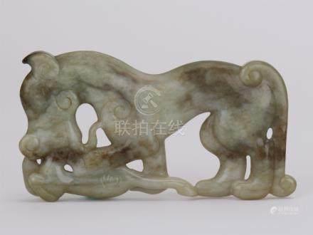 CHINESE JADEITE HORSE PLAQUE