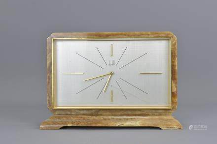 An English mid 20th century Dunhill marble clock