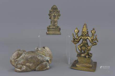 Two bronze deities and Asin stone weight. 14.5cm height. 9.5cm height. 13cm length