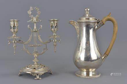 A Sheffiled Georgian coffee pot together with silver plated French candle stick. 13cm height and 22cm height