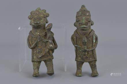 Two Medieval bronze figures Ibeji West Africa. 14.5cm height