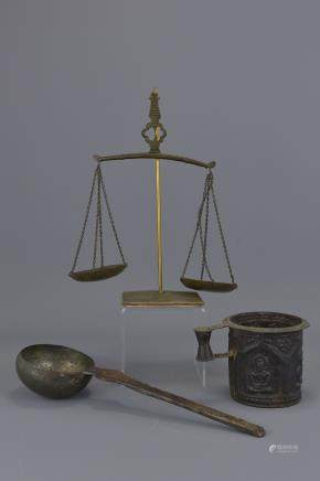 Set of Indonesian brass balance scales with tankard and ladle. 28cm height, 9.5cm tall, 30cm length,
