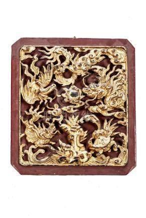 Plaque en bois de Ningbo ajouré de Chine. XIXe.