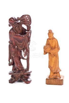 Deux sculptures en bois