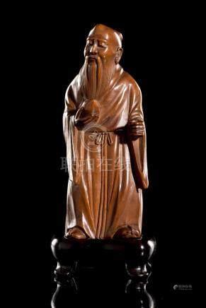 Statuette chinoise en buis représentant un taoïste