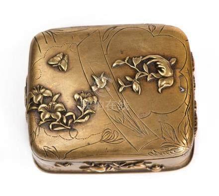 Trois Kobako en bronze du Japon avec inclusions. Ere Meiji.