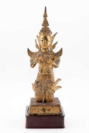 Orant agenouillé de Thaïlande les 2 bras devant, bronze laqu