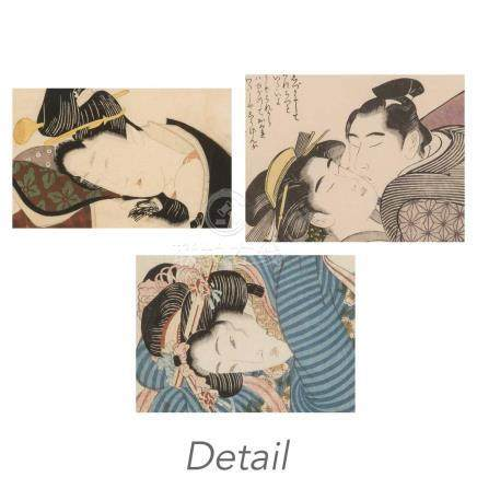 Group of Three Japanese Shunga Woodblock Prints