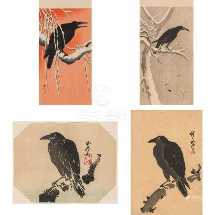 Group of Four Japanese Woodblock Prints of Crows