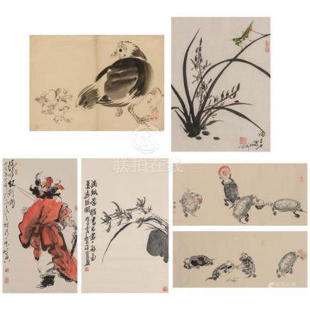 Japanese School 20th Century Five: Hen and chicks; praying m