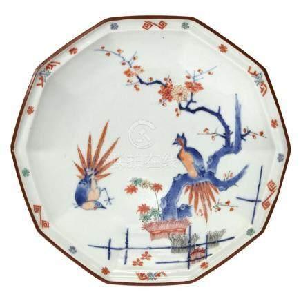 Japanese Kakiemon Decagonal 'Golden Pheasant' Dish