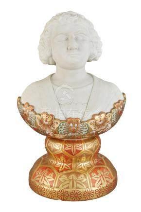 Japanese Ceramic Satsuma Bust of Columbus