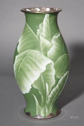 Japanese Silver Mounted Porcelain Vase
